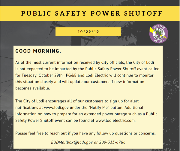 Public Safety Power Shutoff Update Oct 29,2019