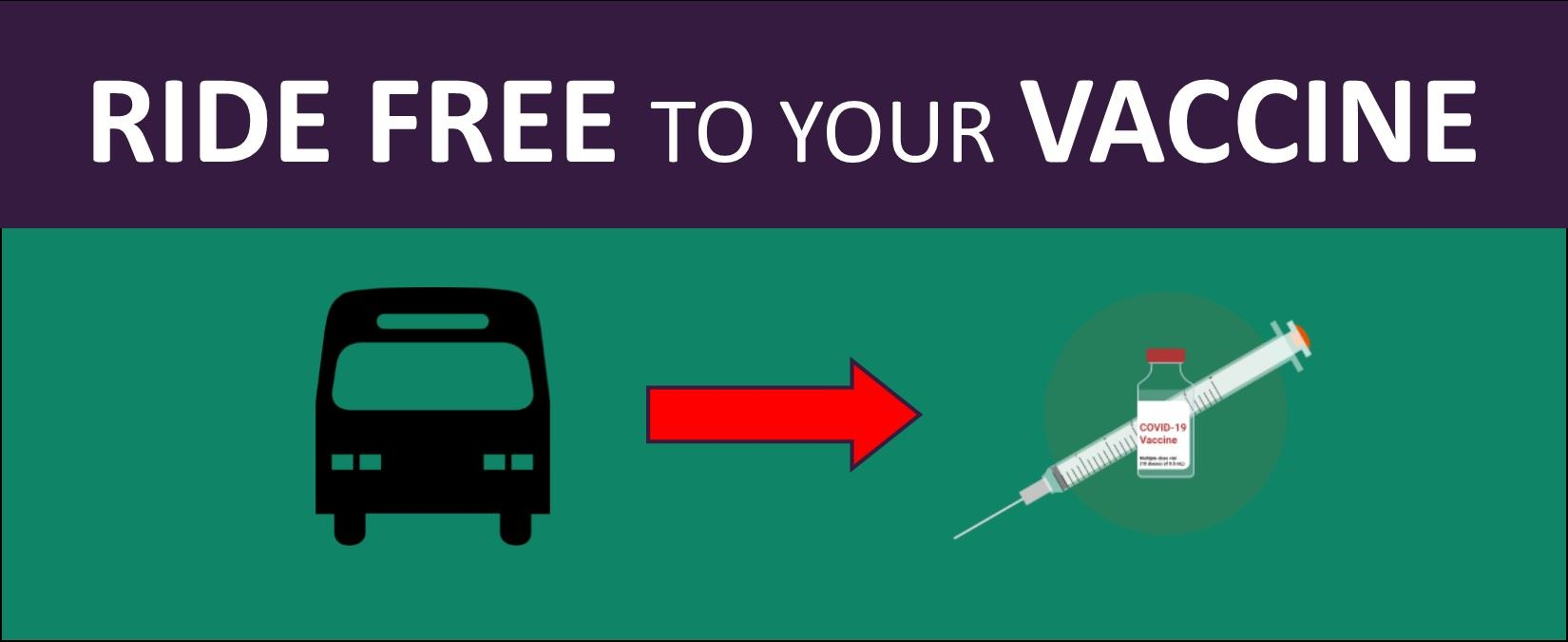 Image banner advertising free fixed route trips for those getting a vaccine in Lodi.